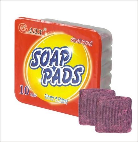 10pcs Pp Box Steel Wool Soap Filled Pads