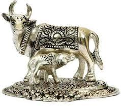 Metal Cow and Calf Statue