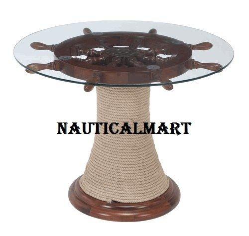 """30"""" Ship Wheel Oak Wood Table"""
