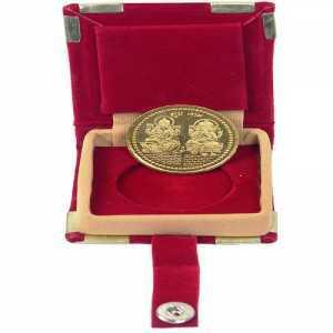 Coin Laxmi Ganesh Gold Plated German Silver Coin