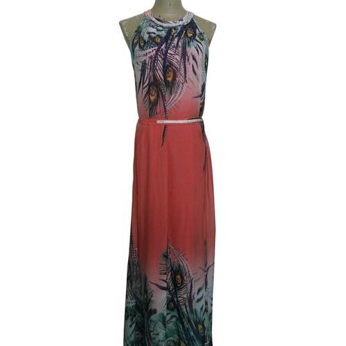 Ladies Long Dress With Rhinestone On Neckline Waist