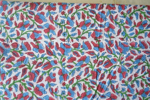 Hand Block Flower Printed Cotton Fabrics