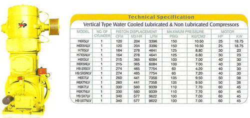 Vertical Type Water Cooled Lubricated And Non Lubricated Compressors