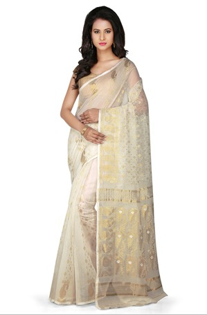 ccf731cd06845f Bengal Handloom Cotton and Silk Saree in Off White in New Delhi ...