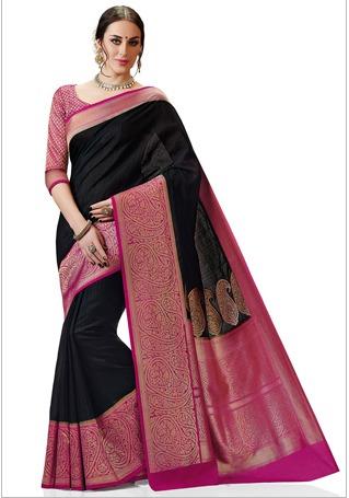 36cc8be5e22193 Woven Kanchipuram Silk Saree In Black in Mumbai, Maharashtra - Utsav ...