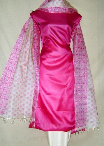 Unstitched Tussar Silk Block Printed Salwar Kameez Dress Material in  Avenue Road
