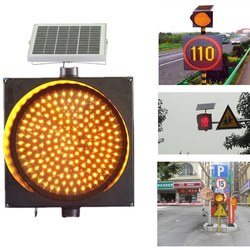 Red Blue Yellow LED Flashing Solar Powered Traffic Warning Light
