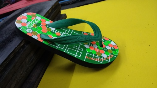 Green Colour Printed Hawai Chappal