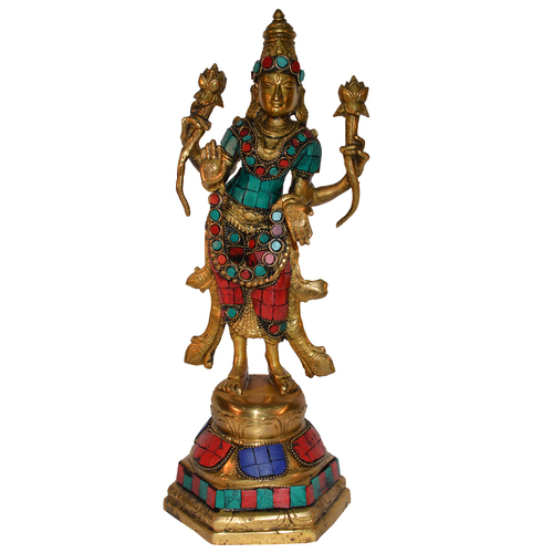 Multi Color Stone Finish Goddess Lakshmi Standing Figure