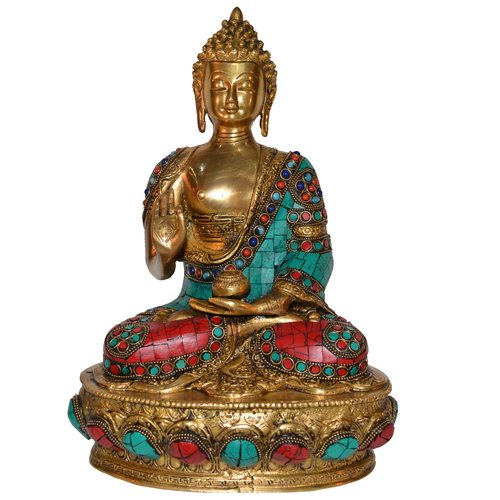 Lord Sitting Buddha Idol With Stone