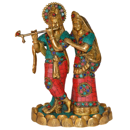 Radha Krishan Statue With Stone Work For Gift And Decor