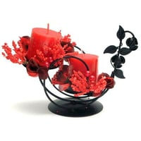 Exotic Metal Candle Holder With Wax Candles & Flowers