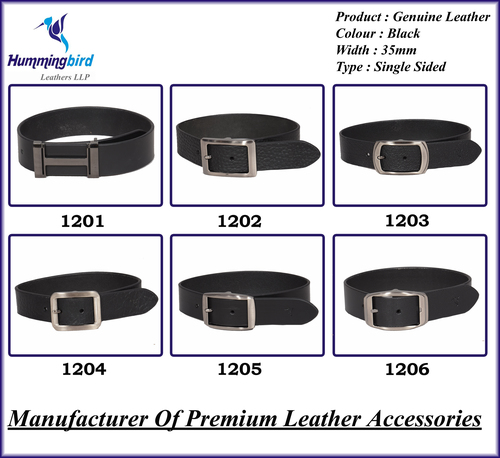 Genuine Leather Single Sided Black Belt