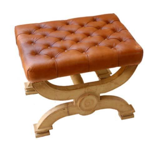 Leather & Glass Stool in  Pali Road