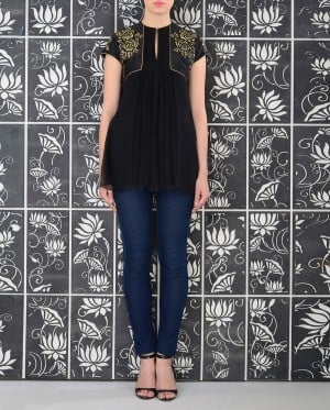 Black Tunic with Floral Embroidery