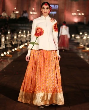 Ivory Quilted Jacket with Orange Brocade Lengha