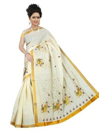 Kerala Cotton Peacock Embroidery Saree with Running Blouse