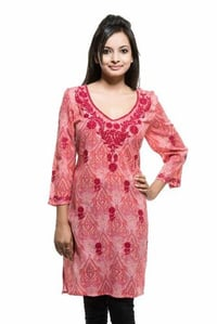 Cotton Red Paisley Printed Embroidered Kurti