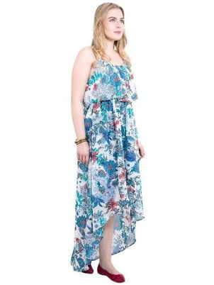 Poly Georgette Blue Colored Floral Printed Beach Frill Strap Dress