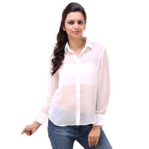 37f2a0c4ccfd0 Poly Georgette Hi Low Hem White Formal Full Sleeves Shirt in Patna ...