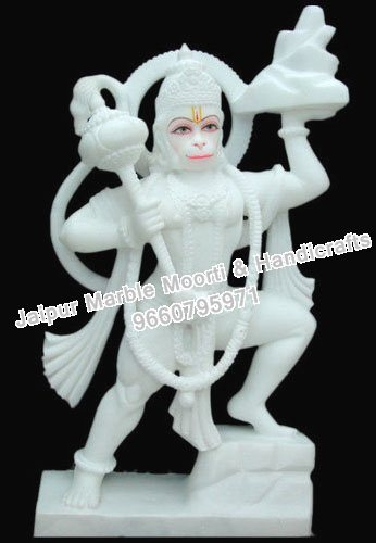 Lord Hanuman White Marble Statue