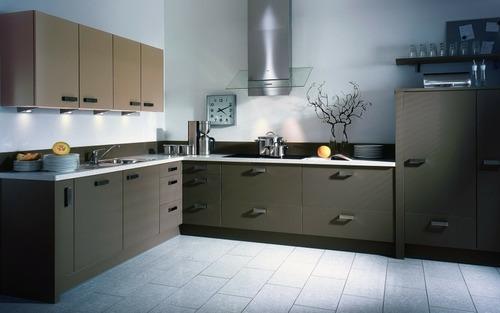 Modern Plain Wood Modular Kitchen