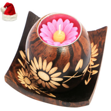 Wooden Candle with Tray