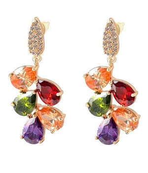 18K Rose Gold Plated Cubic Zirconia Dangle And Drop Earrings