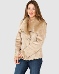 Double Breasted Women's Jacket with Buckle Closure