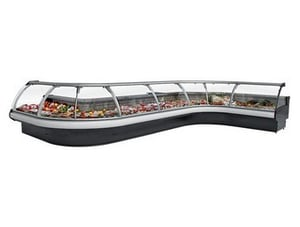 Curved Glass Serve Over Showcase