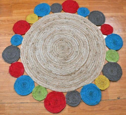 Multi Color Round Jute Designer Rugs in  Noorwala