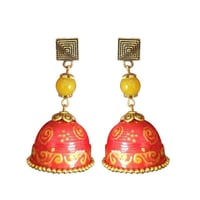 Aesthetic Paper Quelling Circular Bell Shape Yellow And Red Earring Dangler