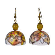 Aesthetic Paper Quelling Circular Bell Shape Yellow And White Base Multi Color Earring Dangler