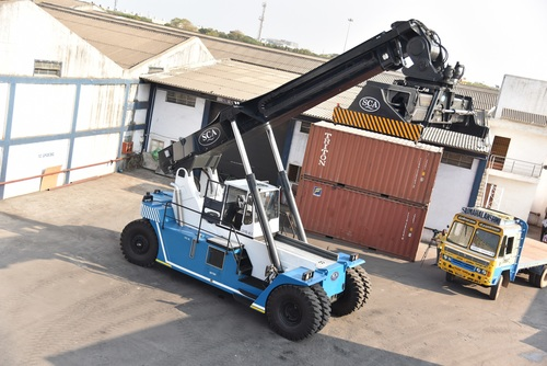 Loaded Containers Reach Stacker in  Peenya Second Phase