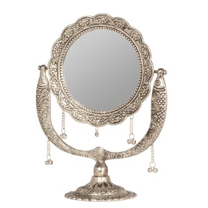 White Metal Stand Mirror Casting Fish