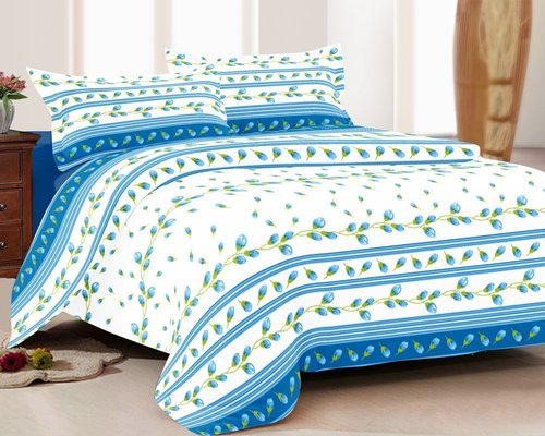 Bedsheet 100% Cotton Double bed Queen Size Blue Small Floral Printed in  Satellite