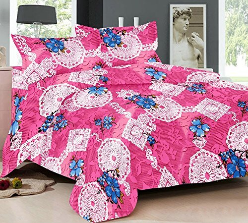 Bedsheet Single Size 100% Cotton Floral Bhatik Printed Pink Colour in  Satellite