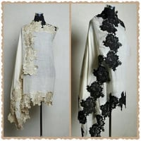 Floral Patch Work Handmade Cashmere Lace Shawl