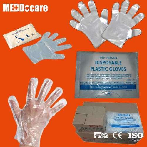 Transparent Clear Smooth Embossed Plastic Disposable PE Gloves