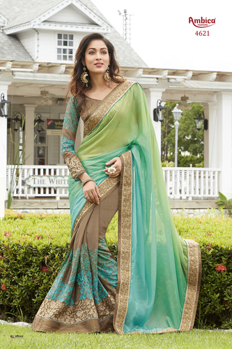 Ambica Designer Green Sarees in  Satara Road
