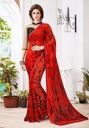 Ladies Red Digital Printed Saree in  Ring Road