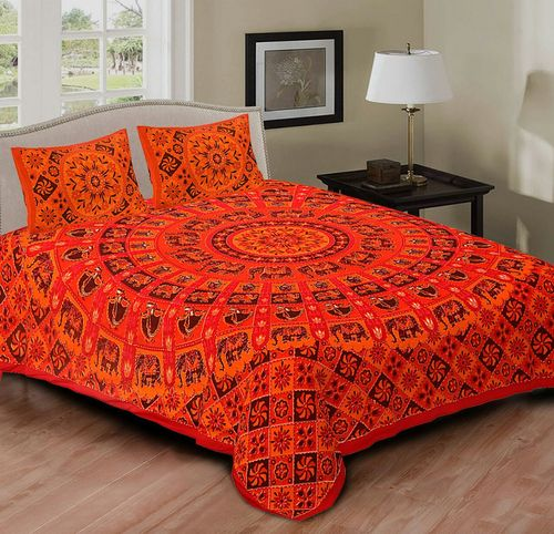 Double Bed Sheets Set Fl 1 in  Sanganer