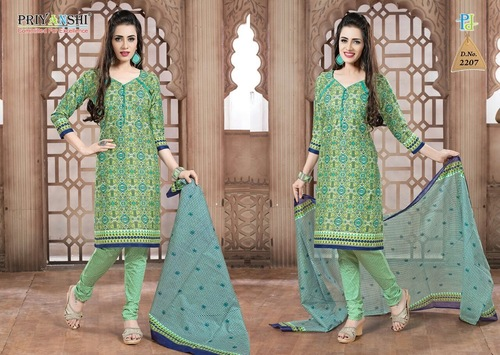 Green And Blue Unstitched Salwar Suit