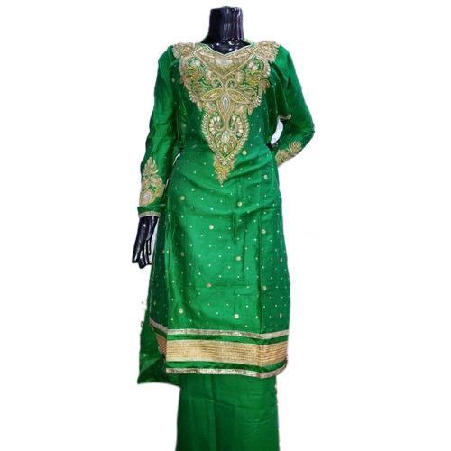 Green Glaze Cotton Semi Stitched Suit