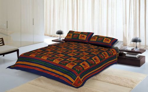 Katha Double Bed Sheet in  Sanganer