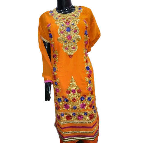 Ladies Georgette Semi Stiched Long Straight Salwar Suit