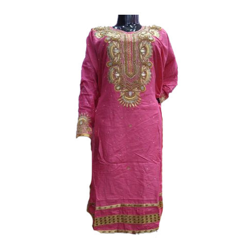 Ladies Pink Semi Stitched Salwar Suit
