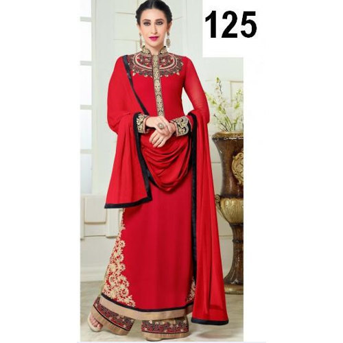 Partywear Red Embroidery Salwar Suit