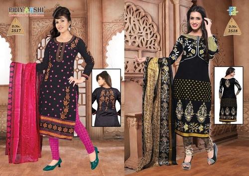 Priyanshi Black Unstitched Salwar Suit