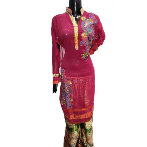 Pure Georgette Semi Stitched Suit With Print Plazo